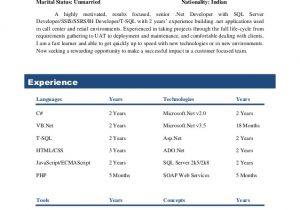 Sample Resume for 2 Years Experience In Net Sql Server Developer Ssis Ssrs Bi Developer T Sql with 2