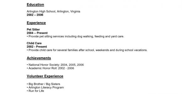 Sample Resume for A Highschool Student with No Experience Resume for Highschool Students with No Experience Work