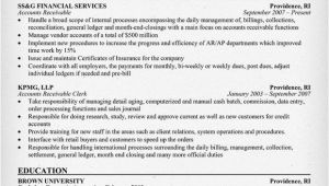 Sample Resume for Accounts Payable and Receivable Accounts Receivable Resume Example Resumecompanion Com
