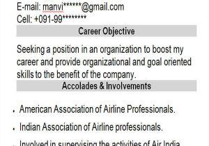 Sample Resume for Air Hostess Fresher 42 Professional Fresher Resumes Sample Templates