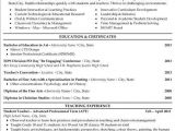 Sample Resume for Art and Craft Teacher Visual Arts Resume Best Resume Collection