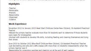 Sample Resume for assistant Teacher In Preschools 1 assistant Preschool Teacher Resume Templates Try them