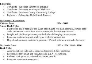 Sample Resume for Bank Teller at Entry Level Resume now Com Resume Ideas