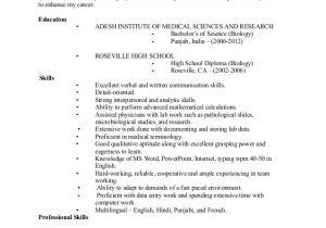 Sample Resume for Biology Major Jasleen Kaur Resume 2