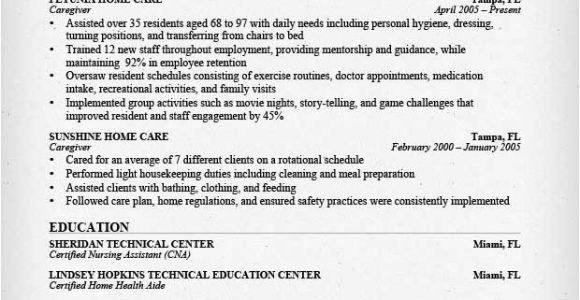 Sample Resume for Caregiver for An Elderly Caregiver Resume Sample Writing Guide Resume Genius