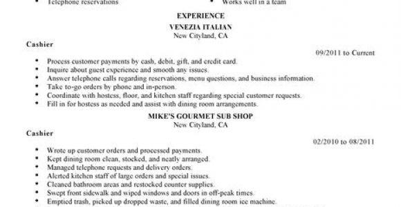 Sample Resume for Cashier In Restaurant Best Restaurant Cashier Resume Example Livecareer