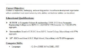 Sample Resume for Cse Students Resume format Resume format for Cse Students