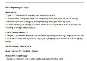 Sample Resume for Digital Marketing Manager 40 Free Manager Resume Templates Pdf Doc Free