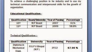Sample Resume for Diploma In Mechanical Engineering Mechanical Diploma Resume format for Freshers