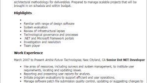 Sample Resume for Dot Net Developer Experience 2 Years Professional Senior Dot Net Developer Templates to
