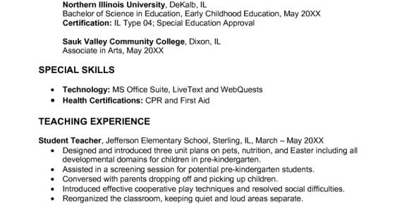 Sample Resume for Early Childhood Educator Early Childhood Education Resume Samples Sample Resumes