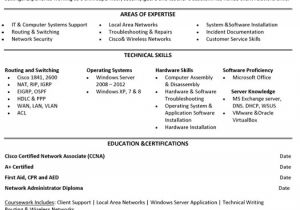 Sample Resume for Experienced Network Administrator Jr Network Administrator Resume Sample Template