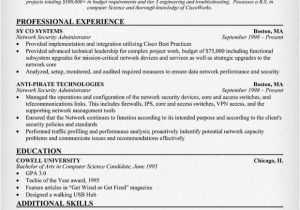 Sample Resume for Experienced Network Administrator Network Administrator Resume India Ghostwritingrates Web