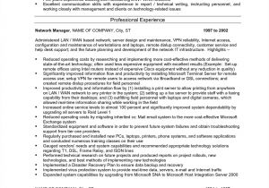 Sample Resume for Experienced Network Administrator Network Administrator Resume Sample Pdf Lovely Network