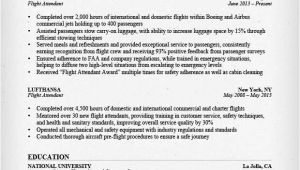 Sample Resume for Flight attendant Position Flight attendant Resume Sample Writing Guide Rg