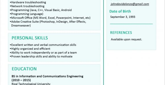 Sample Resume for Fresh Graduate 30 Simple and Basic Resume Templates for All Jobseekers