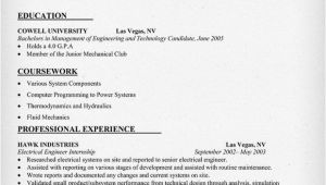 Sample Resume for Internship In Mechanical Engineering Mechanical Engineering Internship Resume Sample