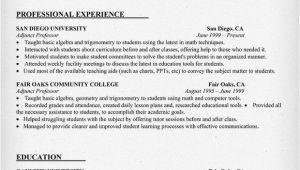 Sample Resume for Professor Resume Example for Adjunct Professor Resumecompanion Com