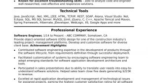 Sample Resume for software Engineer with 1 Year Experience Midlevel software Engineer Sample Resume Monster Com