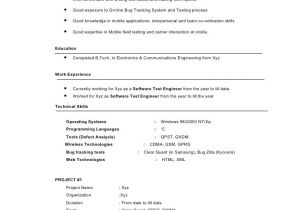 Sample Resume for software Tester 2 Years Experience Sample Resume for 2 Years Experience In software Testing
