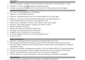 Sample Resume for software Tester 2 Years Experience Sample Resume for software Test Engineer with Experience