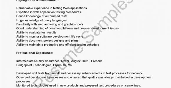 Sample Resume for software Tester 2 Years Experience software Testing Resume Samples 2 Years Experience