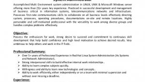 Sample Resume for System Administrator Fresher System Administrator Cv