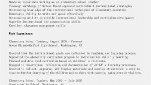Sample Resume for Teachers Resume Samples Elementary School Teacher Resume Sample