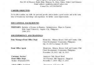 Sample Resume for tourism Students Resume format for Ojt Sample tourism Students Accurate