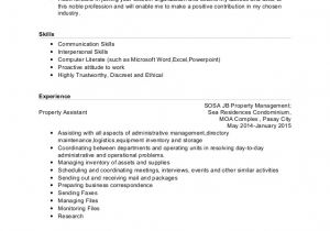 Sample Resume for tourism Students Resume