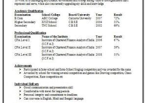 Sample Resume format for Zoology Freshers Awesome One Page Resume Sample for Freshers Resume