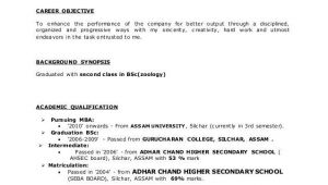 Sample Resume format for Zoology Freshers for Bsc Zoology Resume format for Freshers Resume