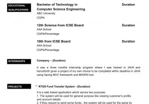 Sample Resume format for Zoology Freshers Resume format Sample for Fresher World Of Reference