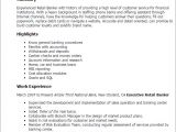 Sample Resume Of A Banker 1 Retail Banker Resume Templates Try them now