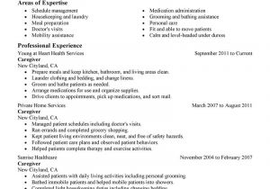 Sample Resume Of Caregiver for Elderly Caregivers Resume Free Excel Templates