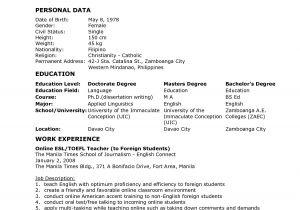Sample Resume Of Teacher Applicant Resume for Teacher Applicant Best Letter Sample