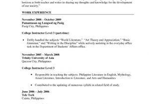 Sample Resume Of Teacher Applicant Sample Of Resume for Teacher Applicant Kc Garza