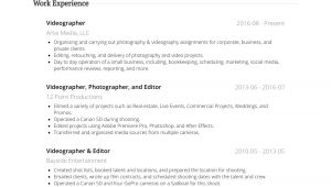 Sample Resume Videographer Videographer Resume Samples and Templates Visualcv