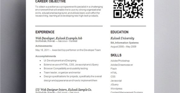 Sample Resume with Qr Code Entry Level Template with Qr Code Kukook