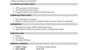 Sample Teacher Resume Indian Schools Resume for Teachers In Indian format Google Search