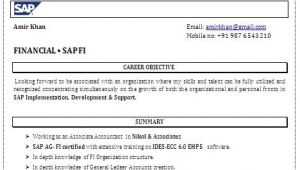 Sap Fico Fresher Resume Sample Sap Fico Resume format
