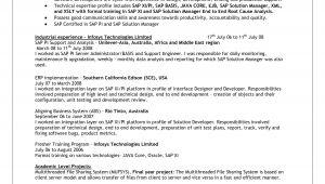 Sap Mm Resume Sample for Freshers Sap Basis Resume format for Freshers Bongdaao Com