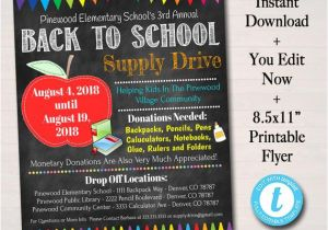 School Supply Drive Flyer Template Free Editable School Supply Drive Flyer Printable Pta Pto Flyer