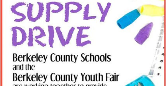 School Supply Drive Flyer Template Free School Supply Drive Berkeley County Youth Fair
