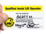 Scissor Lift Certification Card Template Qualified Aerial Lift Operator Hard Hat Decals with