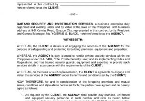 Security Company Contract Template Gsisi Contract Of Security Services