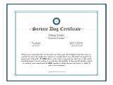 Service Animal Certificate Template Service Dog Certificate Template Best Templates Ideas