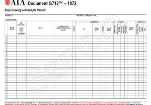 Shop Drawing Log Template G712 1972 Shop Drawing and Sample Record Aia Bookstore