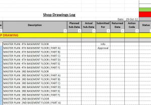 Shop Drawing Log Template How to Create A Shop Drawings Submittas Log with Sample