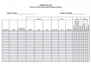 Shop Drawing Log Template Submittal Log form 5 99 Download now